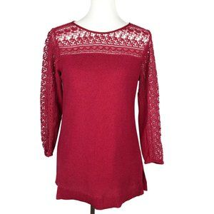 Lucky Brand Lace Trim Pullover Sweater